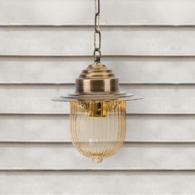Outdoor Amber Glass Pendant Light