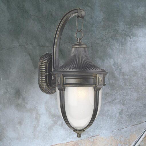 Outdoor Black Gold Opal Wall Lantern