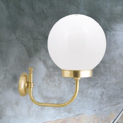 Outdoor Brass Globe Wall Light