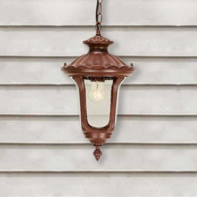 Chained Small Single Rusty Outdoor Bronze Pendant Light