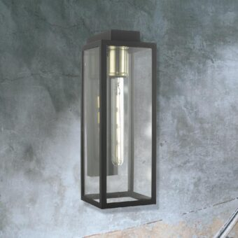 Brass Outdoor Clear Glass Box Wall Light