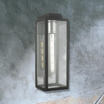 Chrome Outdoor Clear Glass Box Wall Light