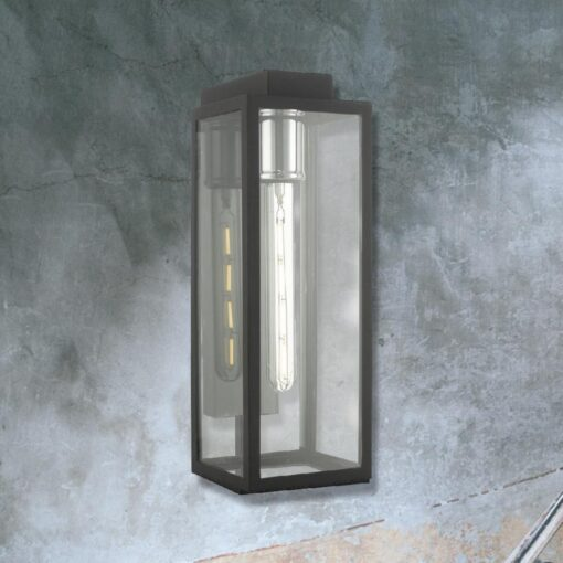 Chrome Outdoor Clear Glass Box Wall Light