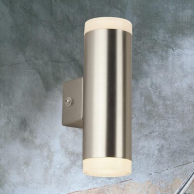 Outdoor Silver Up Down Wall Light