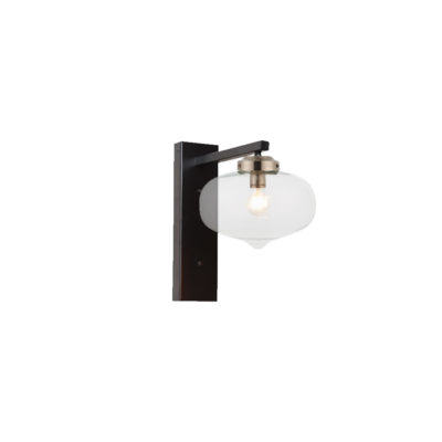 Nickel Oval Glass Shade Wall Light