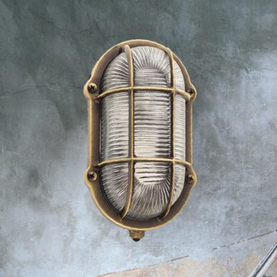 Antique Brass Oval Outdoor Bulkhead Fitting