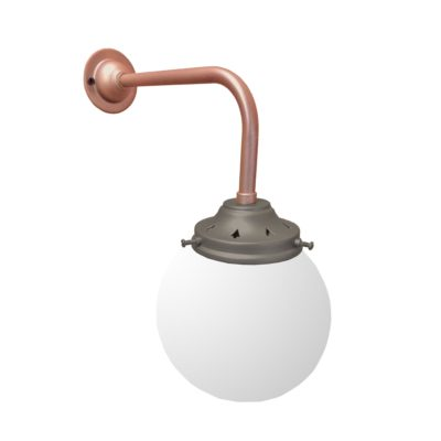 Petwer & Copper Opal Globe Wall Light