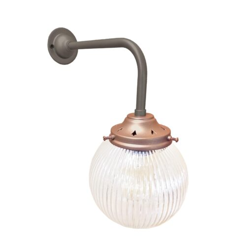 Petwer & Copper Prismatic Globe Wall Light