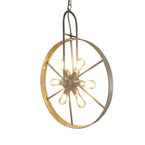 Pewter 6 Light Wheel Pendant