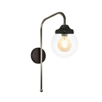 Pewter Clear Globe Wall Light