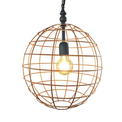 Pewter Copper Cage Pendant Light