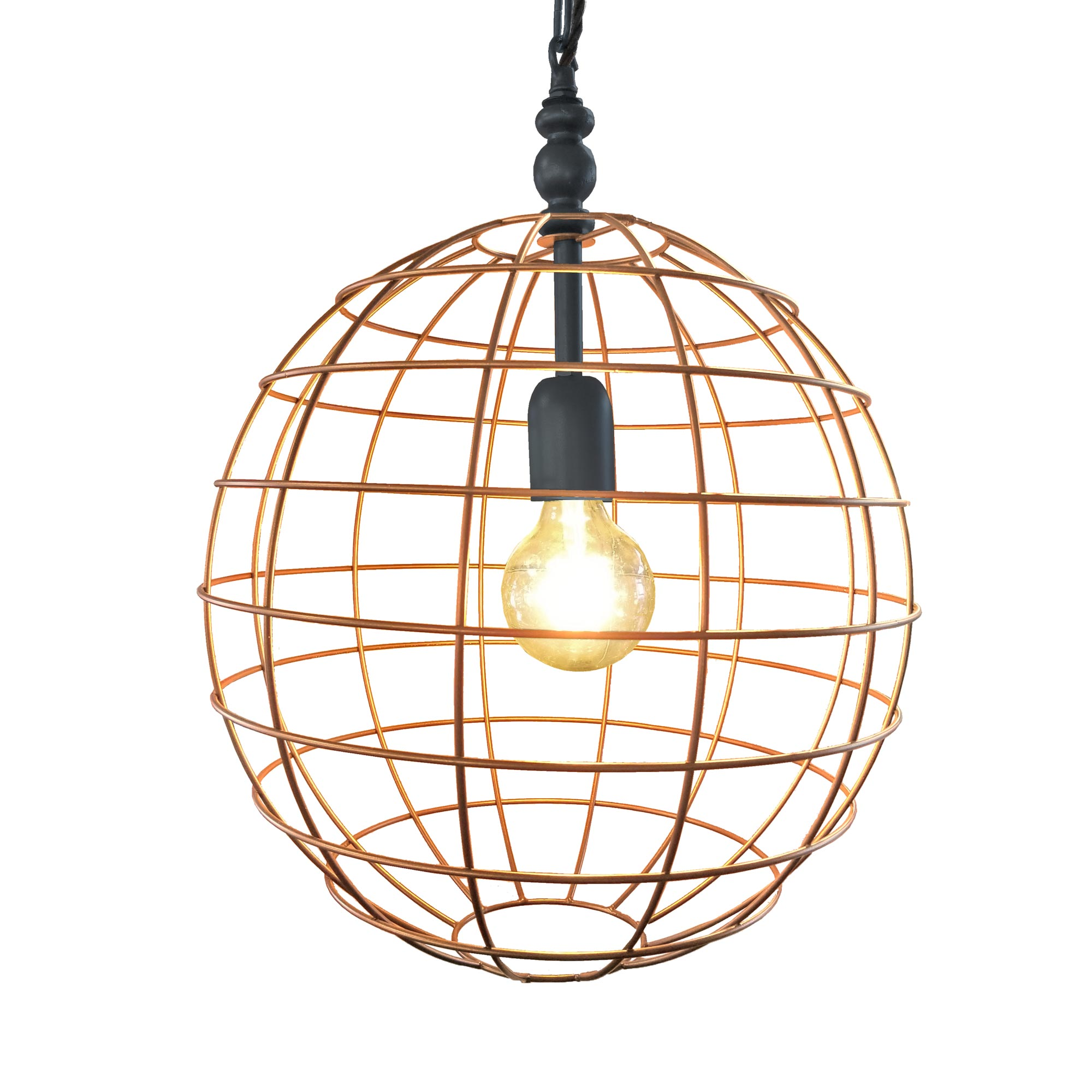 Large round cage pendant light