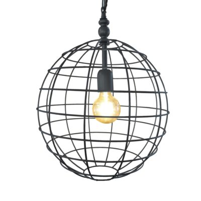 Pewter Large Round Cage Pendant Light