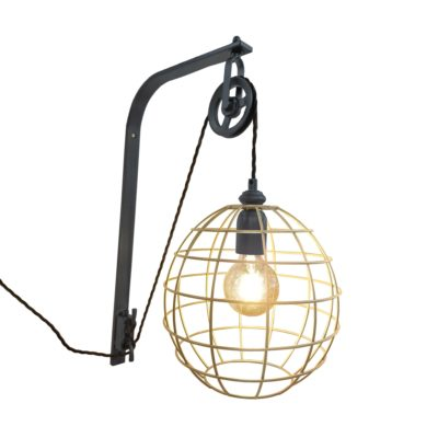 Pewter Pulley Brass Cage Wall Light