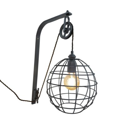 Pewter Pulley Cage Wall Light