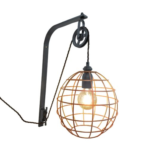 Pewter Pulley Copper Cage Wall Light