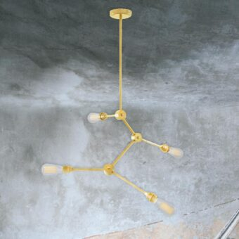 Polished Brass 4 Light Industrial Rod Chandelier
