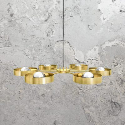 Polished Brass 6 Light Industrial Ring Chandelier
