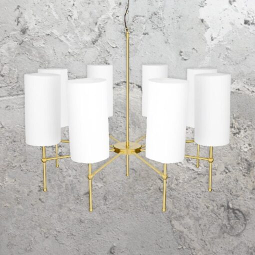 Polished Brass 8 Light Chandelier with Shades