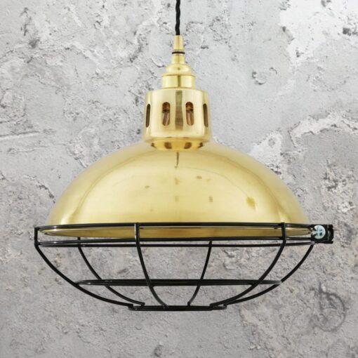 Polished Brass Cage Vintage Dome Pendant Light