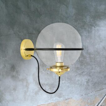 Polished Brass Clear Bistro Globe Wall Light