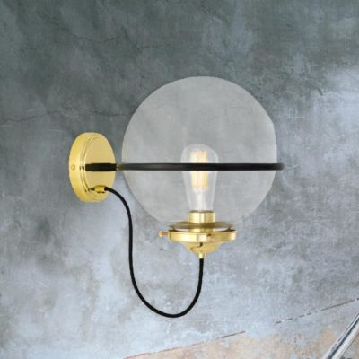 Polished Brass Clear Bistro Globe Wall Light