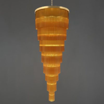 Polished Brass Crystal Rod Chandelier