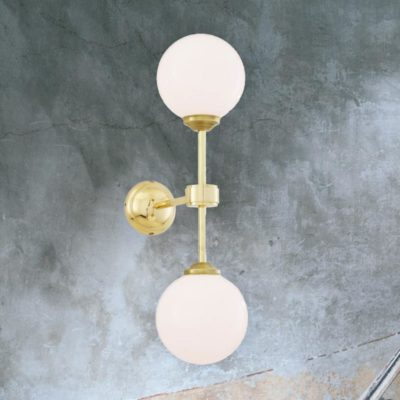 Polished Brass Double Opal Glass Wall Light