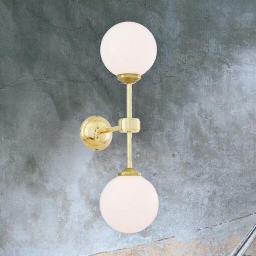 Polished Brass Double Opal Glass Wall Light