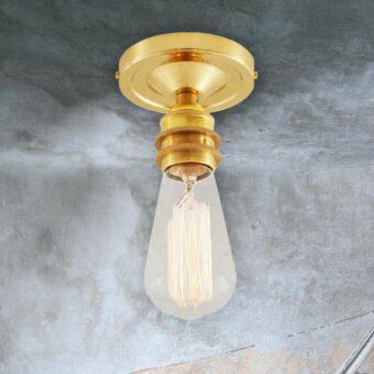 Polished Brass Edison Flush Ceiling Light