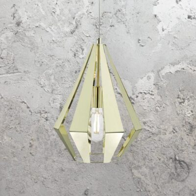 Polished Brass Geometric Pendant Light