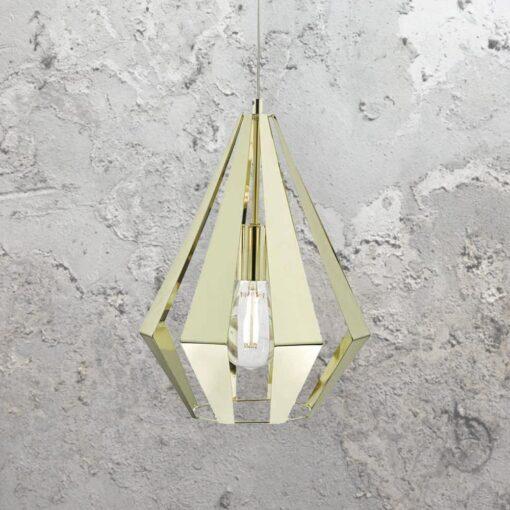Polished Brass Geometric Pendant Light