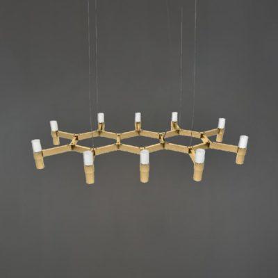 Polished Brass Honeycomb Chandelier