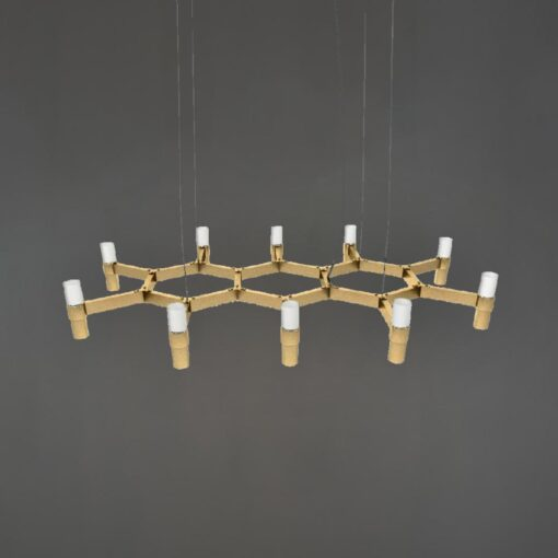 Polished Brass Honeycomb Chandelier