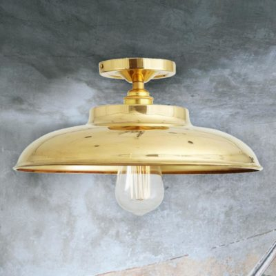 Polished Brass Industrial Farmhouse Flush Mount Light