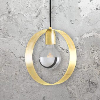 Polished Brass Industrial Ring Pendant Light