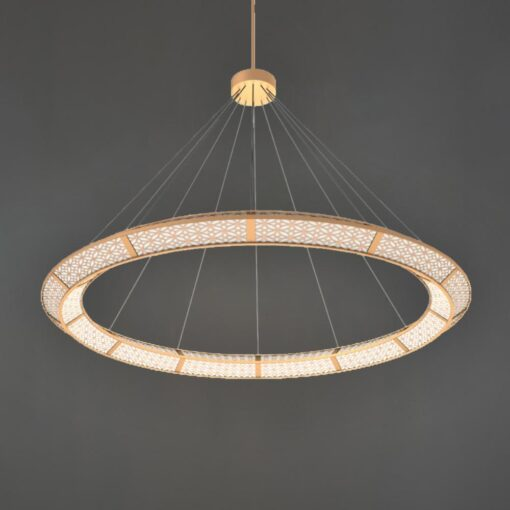 Polished Brass Moroccan Ring Chandelier