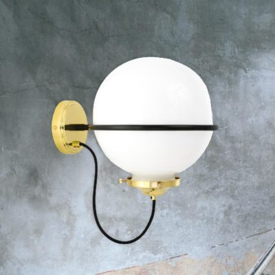 Polished Brass Opal Bistro Globe Wall Light