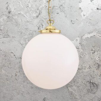 Polished Brass Opal Globe Pendant Light 300mm