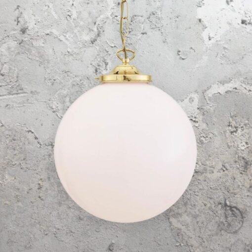 Polished Brass Opal Globe Pendant Light 300mm