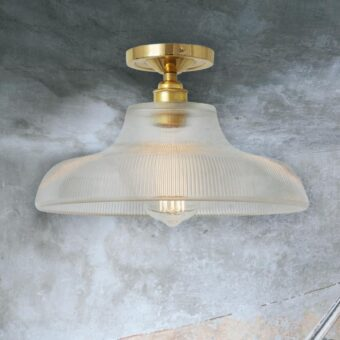 Polished Brass Ribbed Glass Dome Flush Light