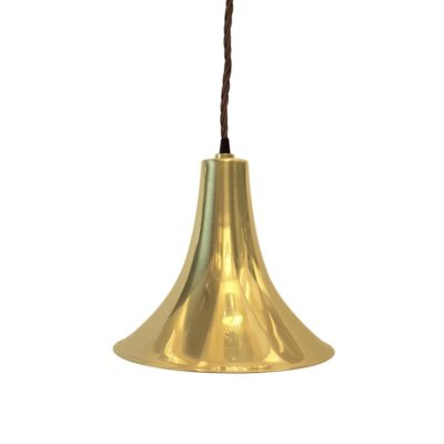 Polished Brass Trumpet Pendant Light