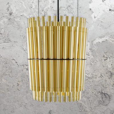 Polished Brass Tubes Chandelier