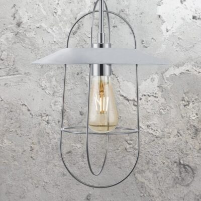 Polished Chrome Cage Pendant Light