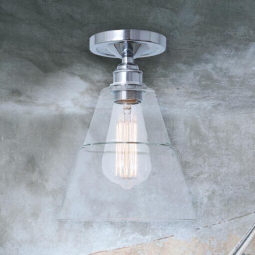 Polished Chrome Glass Cone Flush Light
