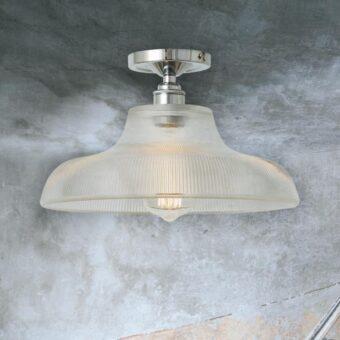 Polished Chrome Ribbed Glass Dome Flush Light