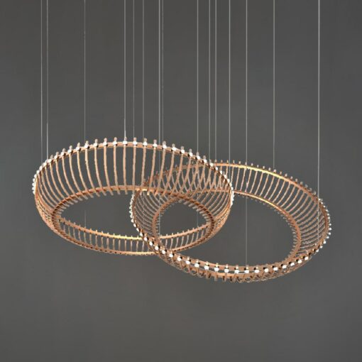 Polished Copper Double Ring Feature Light