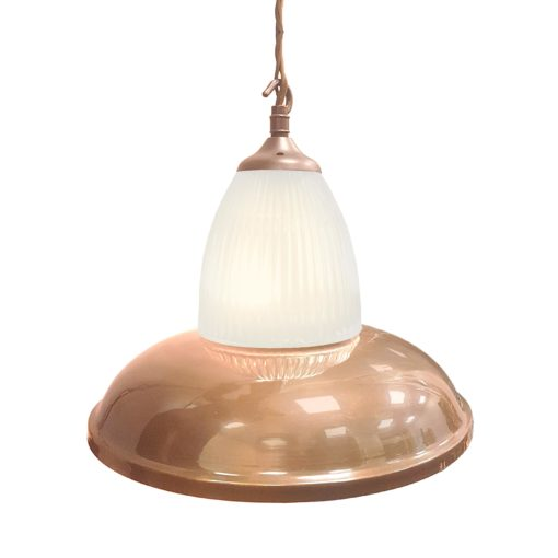 Polished Copper Glass Pendant Light,Industrial Traditional Glass Pendant Light
