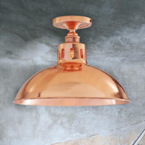 Polished Copper Industrial Dome Flush Light