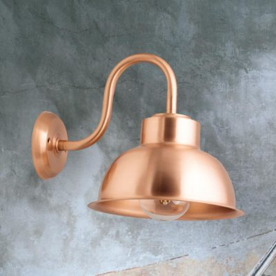 Polished Copper Swan Neck Dome Wall Light